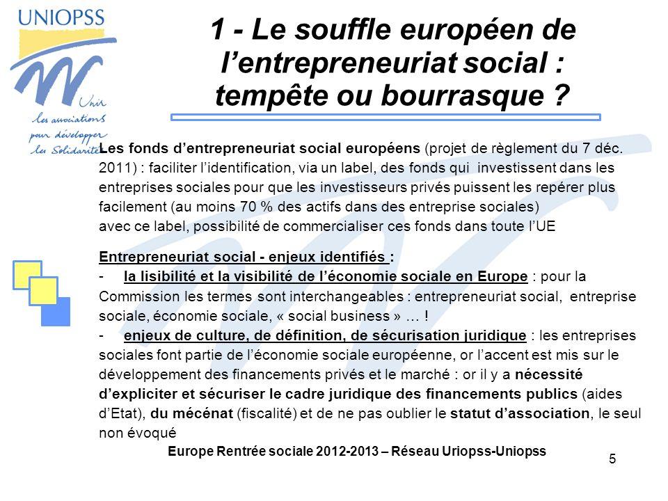 5 Europe Rentrée sociale 2012-2013 – Réseau Uriopss-Uniopss 1 - Le souffle européen de lentrepreneuriat social : tempête ou bourrasque .