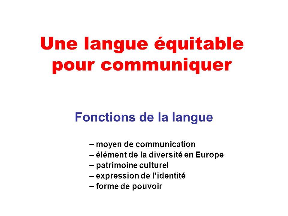 Une langue équitable pour communiquer Fonctions de la langue – moyen de communication – élément de la diversité en Europe – patrimoine culturel – expression de lidentité – forme de pouvoir