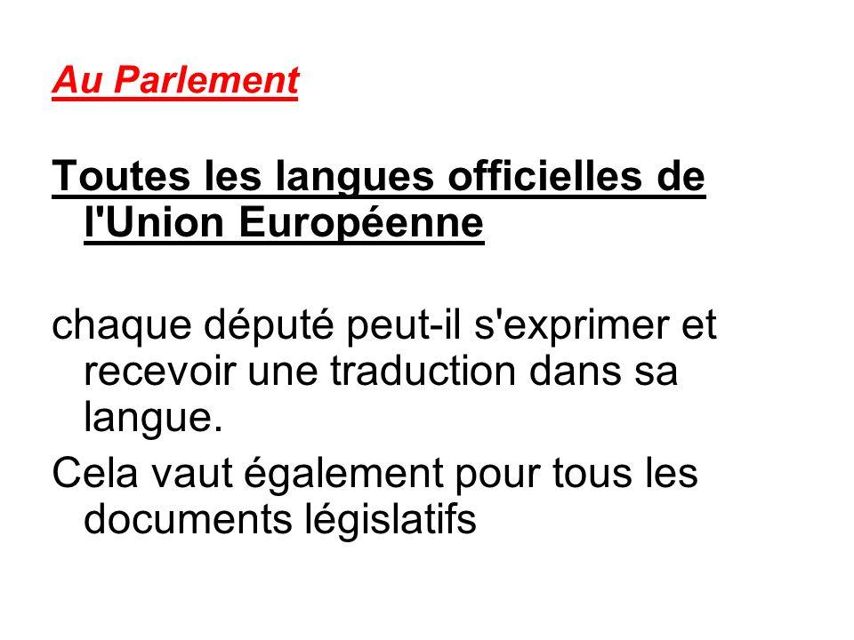 Au Parlement Toutes les langues officielles de l Union Européenne chaque député peut-il s exprimer et recevoir une traduction dans sa langue.