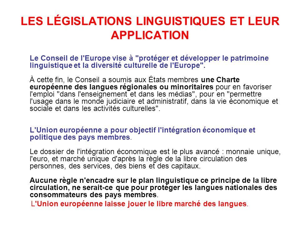 LES LÉGISLATIONS LINGUISTIQUES ET LEUR APPLICATION Le Conseil de l Europe vise à protéger et développer le patrimoine linguistique et la diversité culturelle de l Europe .