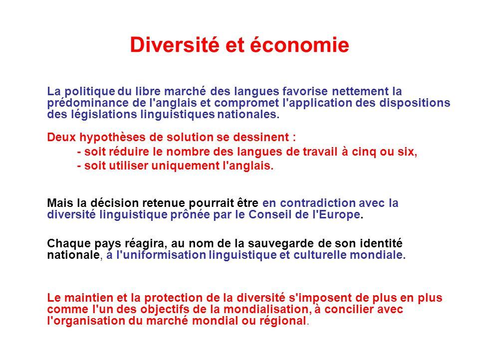 Diversité et économie La politique du libre marché des langues favorise nettement la prédominance de l anglais et compromet l application des dispositions des législations linguistiques nationales.