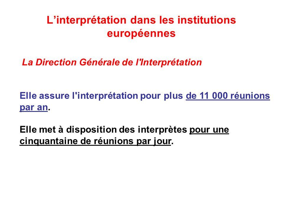Linterprétation dans les institutions européennes Elle assure l interprétation pour plus de 11 000 réunions par an.