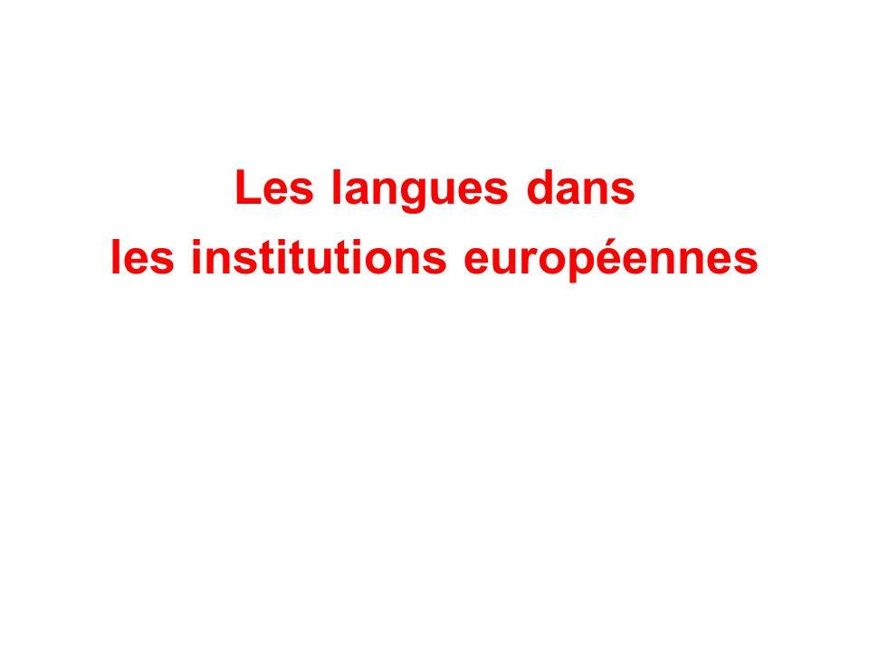 Les langues dans les institutions européennes