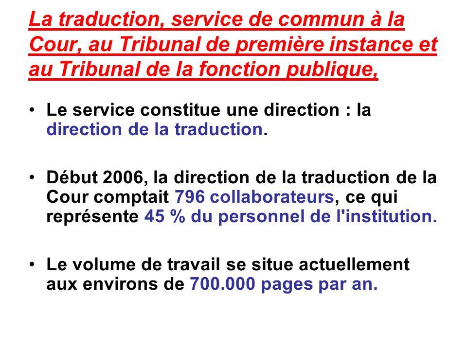 La traduction, service de commun à la Cour, au Tribunal de première instance et au Tribunal de la fonction publique, Le service constitue une direction : la direction de la traduction.