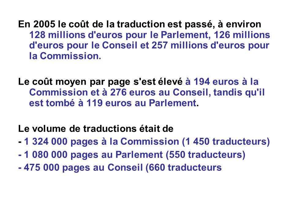En 2005 le coût de la traduction est passé, à environ 128 millions d euros pour le Parlement, 126 millions d euros pour le Conseil et 257 millions d euros pour la Commission.