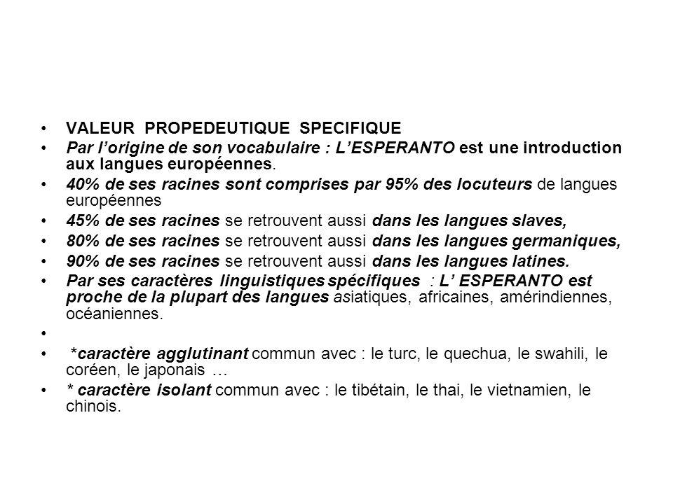 VALEUR PROPEDEUTIQUE SPECIFIQUE Par lorigine de son vocabulaire : LESPERANTO est une introduction aux langues européennes.