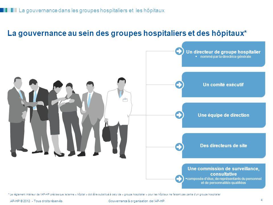 Gouvernance & organisation de lAP-HPAP-HP © 2012 - Tous droits réservés 4 La gouvernance dans les groupes hospitaliers et les hôpitaux La gouvernance
