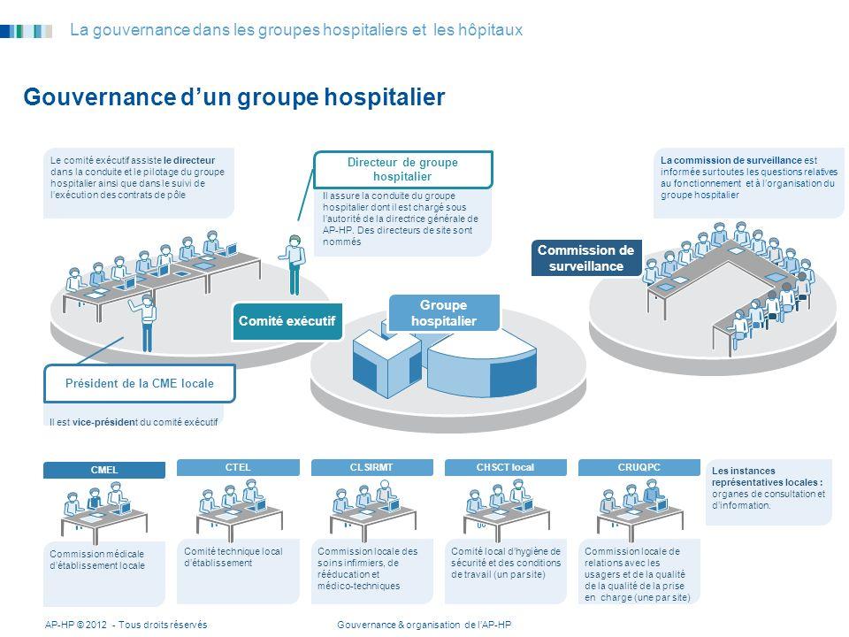 Gouvernance & organisation de lAP-HPAP-HP © 2012 - Tous droits réservés 5 La gouvernance dans les groupes hospitaliers et les hôpitaux Gouvernance dun