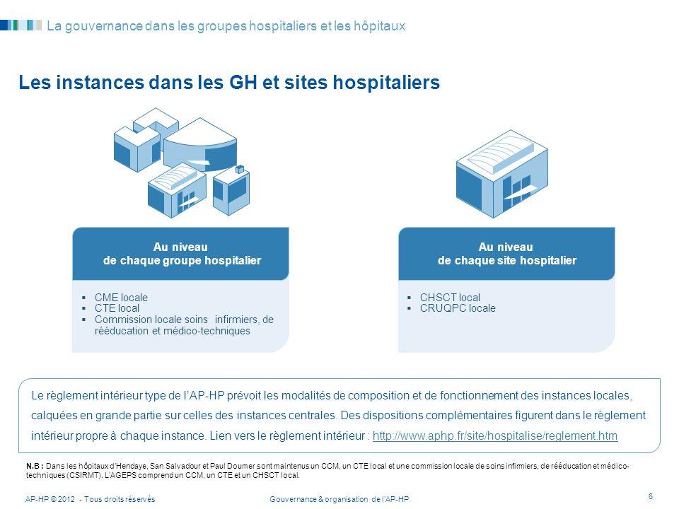 Gouvernance & organisation de lAP-HPAP-HP © 2012 - Tous droits réservés 6 La gouvernance dans les groupes hospitaliers et les hôpitaux Les instances d