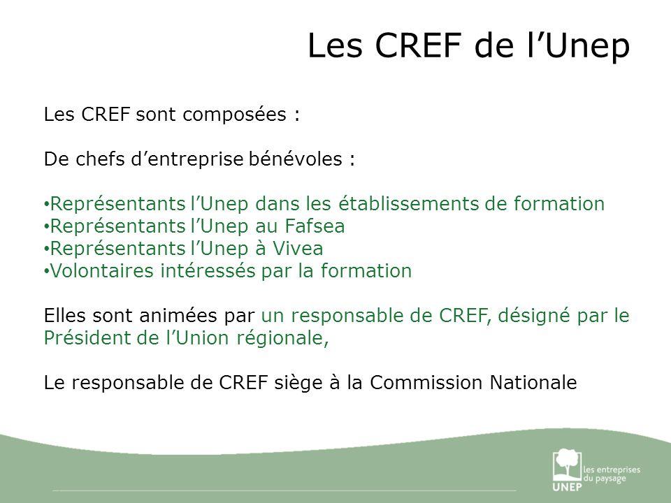 3 Les CREF de lUnep Les CREF sont composées : De chefs dentreprise bénévoles : Représentants lUnep dans les établissements de formation Représentants