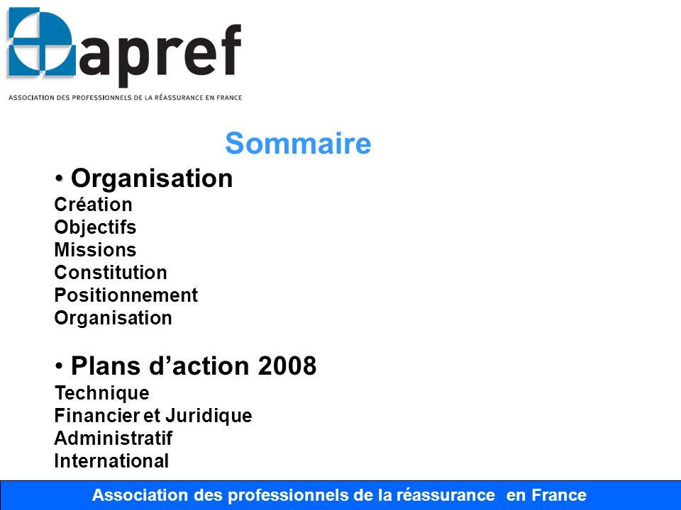 Association des Professionnels de la Réassurance en France Association des professionnels de la réassurance en France Sommaire Organisation Création O
