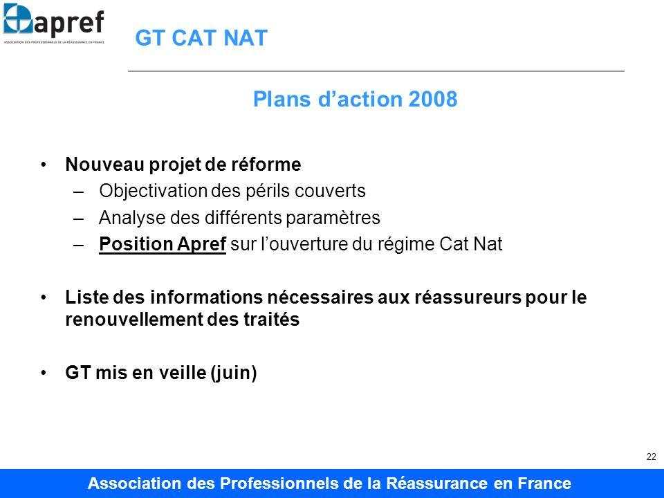 Association des Professionnels de la Réassurance en France 22 GT CAT NAT Nouveau projet de réforme – Objectivation des périls couverts – Analyse des d