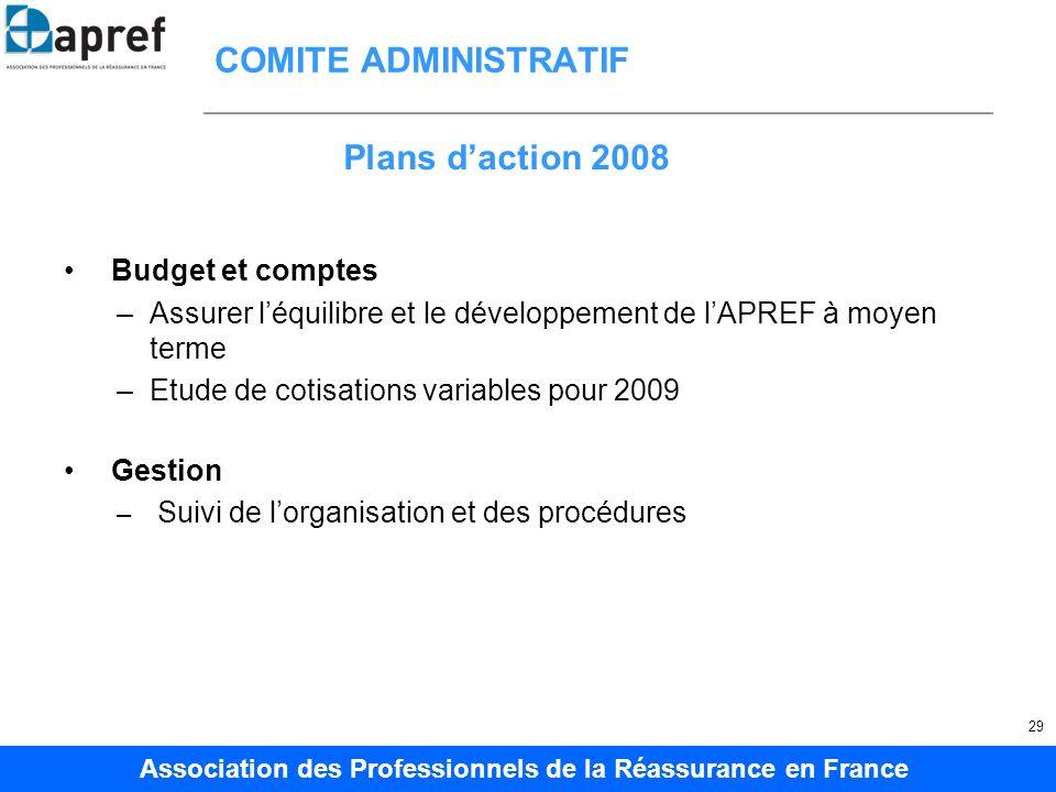 Association des Professionnels de la Réassurance en France 29 COMITE ADMINISTRATIF Budget et comptes –Assurer léquilibre et le développement de lAPREF