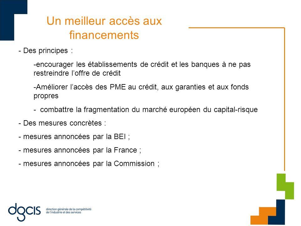 Un meilleur accès aux financements - Des principes : -encourager les établissements de crédit et les banques à ne pas restreindre loffre de crédit -Am