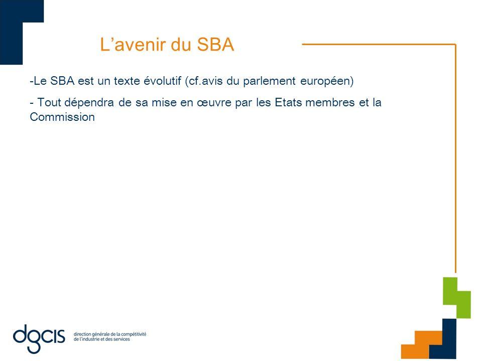 Lavenir du SBA -Le SBA est un texte évolutif (cf.avis du parlement européen) - Tout dépendra de sa mise en œuvre par les Etats membres et la Commissio