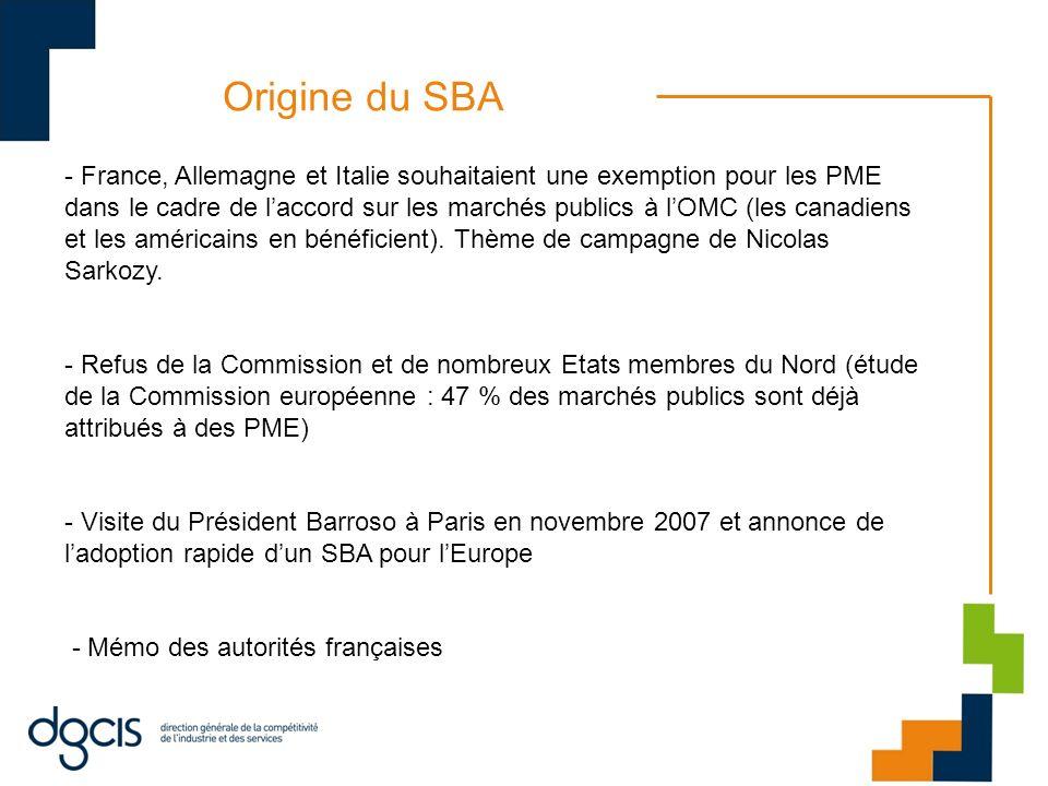 Origine du SBA - France, Allemagne et Italie souhaitaient une exemption pour les PME dans le cadre de laccord sur les marchés publics à lOMC (les cana