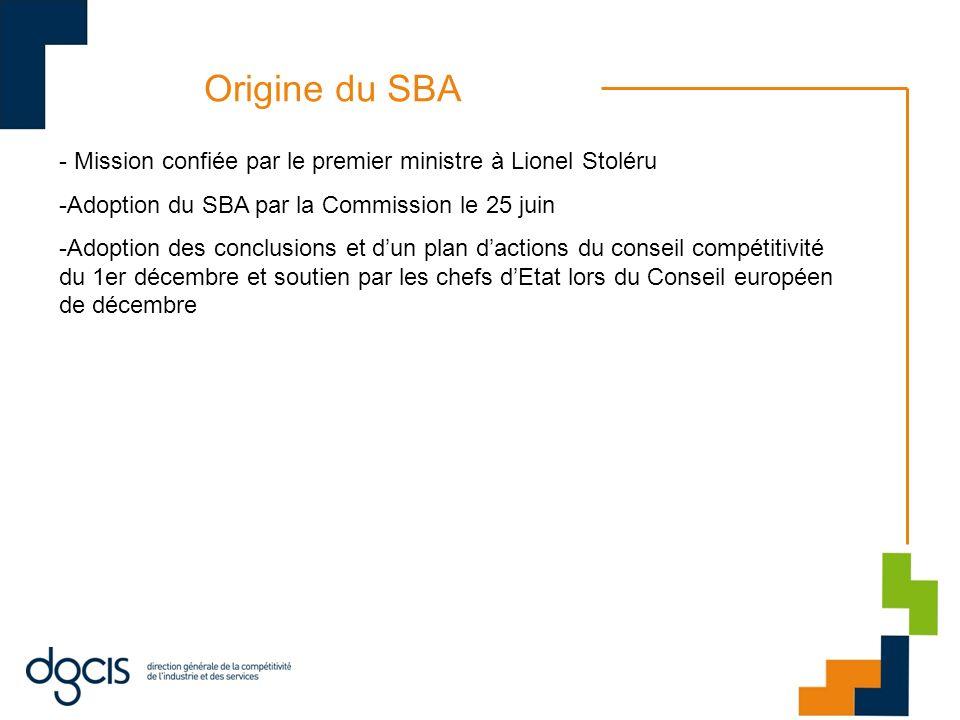 Origine du SBA - Mission confiée par le premier ministre à Lionel Stoléru -Adoption du SBA par la Commission le 25 juin -Adoption des conclusions et dun plan dactions du conseil compétitivité du 1er décembre et soutien par les chefs dEtat lors du Conseil européen de décembre