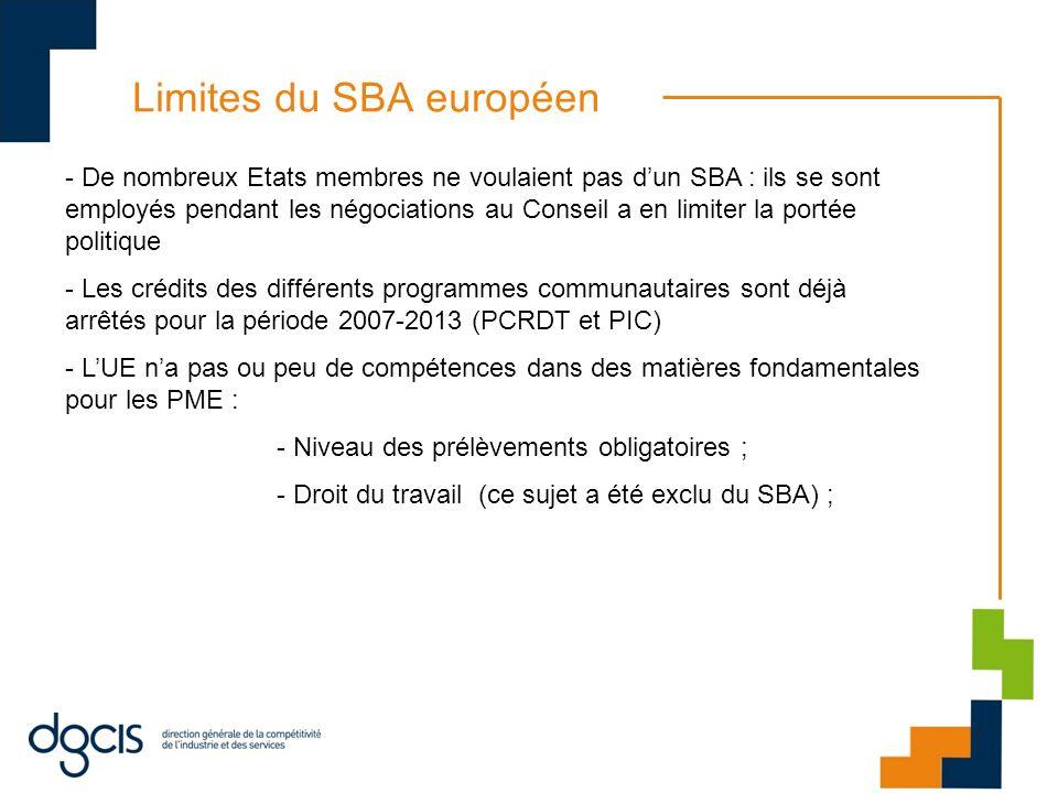 Limites du SBA européen - De nombreux Etats membres ne voulaient pas dun SBA : ils se sont employés pendant les négociations au Conseil a en limiter l
