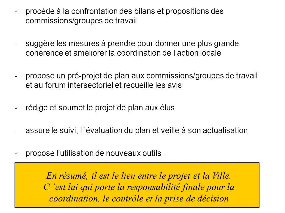 - procède à la confrontation des bilans et propositions des commissions/groupes de travail - suggère les mesures à prendre pour donner une plus grande