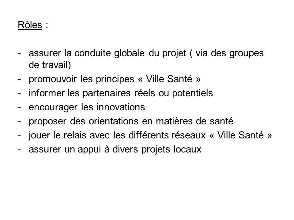 Rôles : - assurer la conduite globale du projet ( via des groupes de travail) - promouvoir les principes « Ville Santé » - informer les partenaires ré
