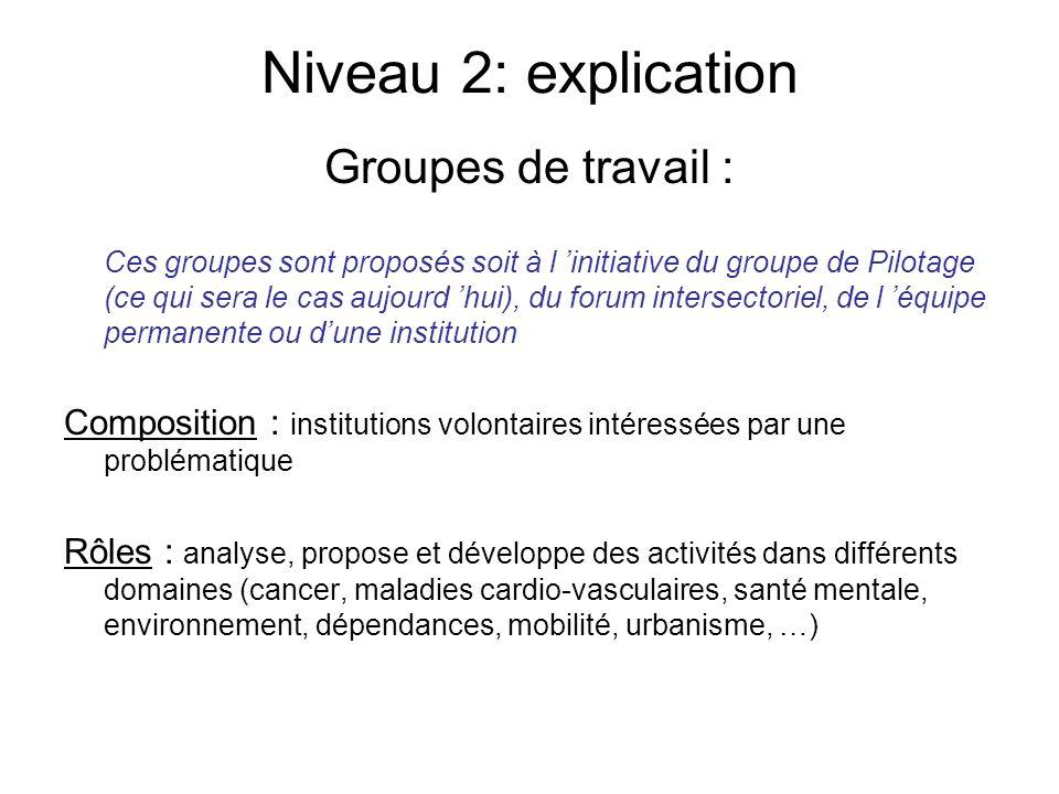 Niveau 2: explication Groupes de travail : Ces groupes sont proposés soit à l initiative du groupe de Pilotage (ce qui sera le cas aujourd hui), du fo