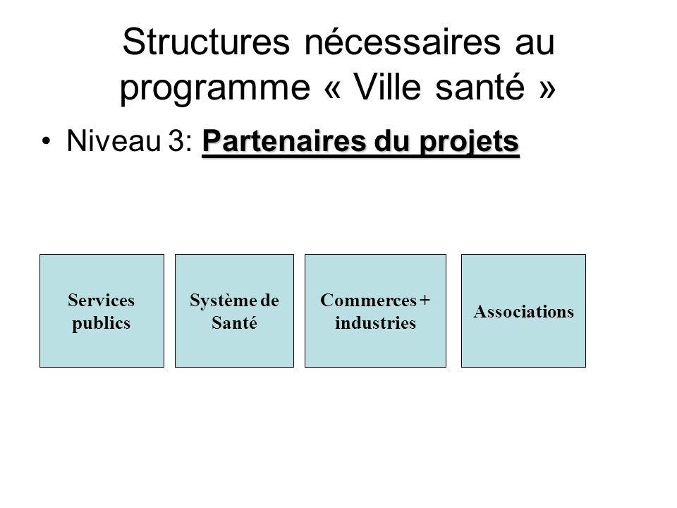 Structures nécessaires au programme « Ville santé » Partenaires du projetsNiveau 3: Partenaires du projets Services publics Système de Santé Commerces