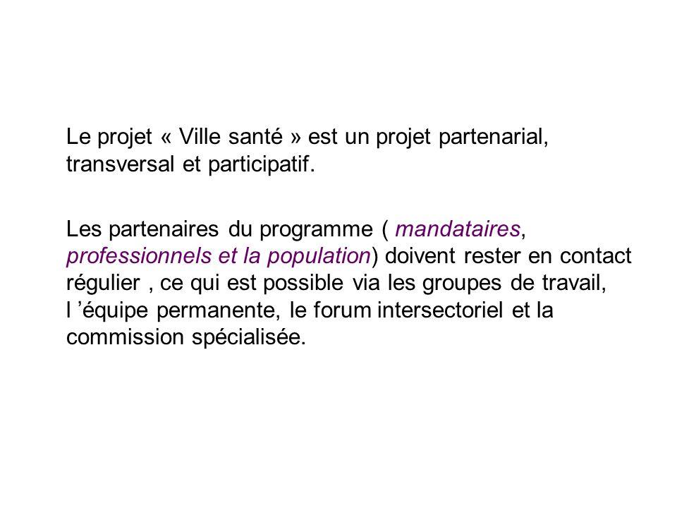 Le projet « Ville santé » est un projet partenarial, transversal et participatif. Les partenaires du programme ( mandataires, professionnels et la pop