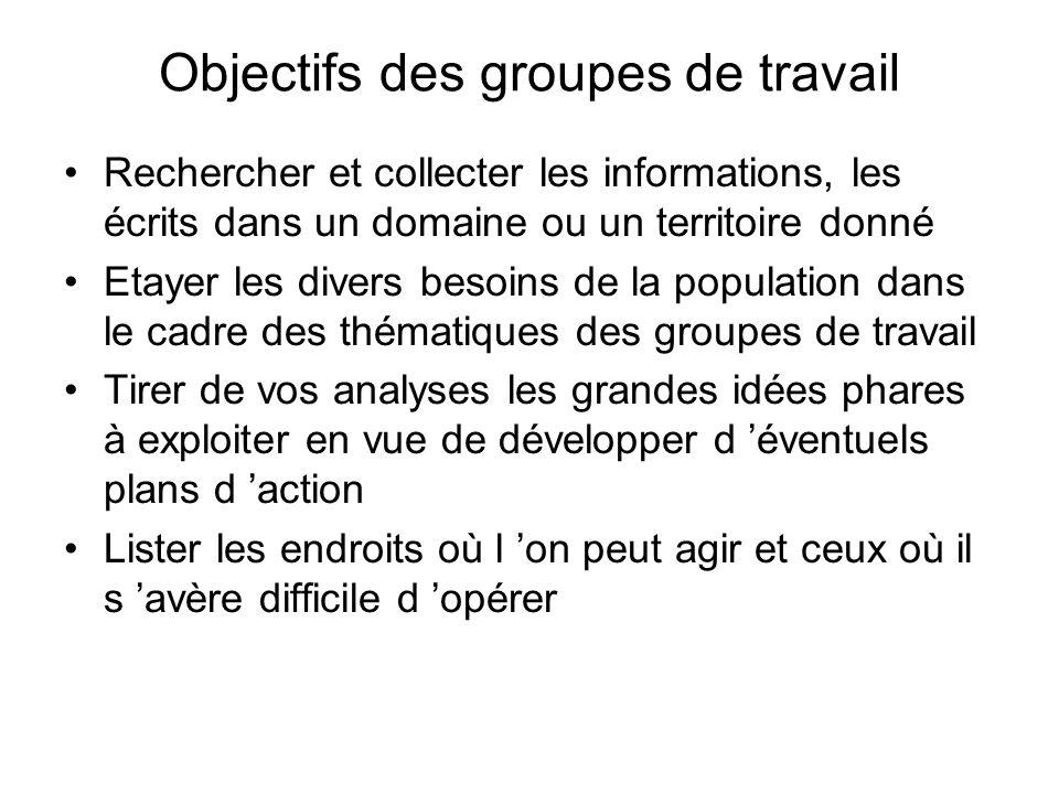 Objectifs des groupes de travail Rechercher et collecter les informations, les écrits dans un domaine ou un territoire donné Etayer les divers besoins