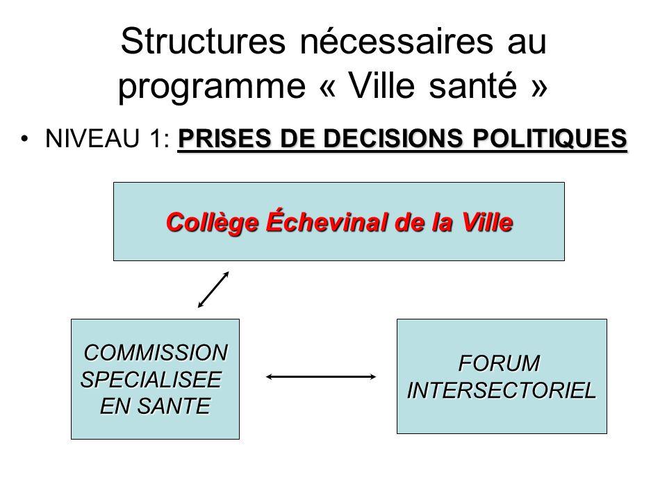 Niveau 1: explication Collège échevinal de la Ville: avalise et soutien (structurellement, financièrement,…) les propositions de la commission et du forum.