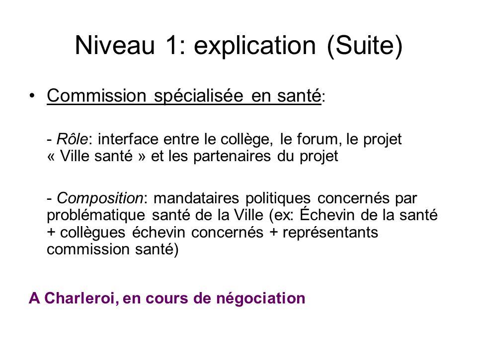 Niveau 1: explication (Suite) Commission spécialisée en santé : - Rôle: interface entre le collège, le forum, le projet « Ville santé » et les partena