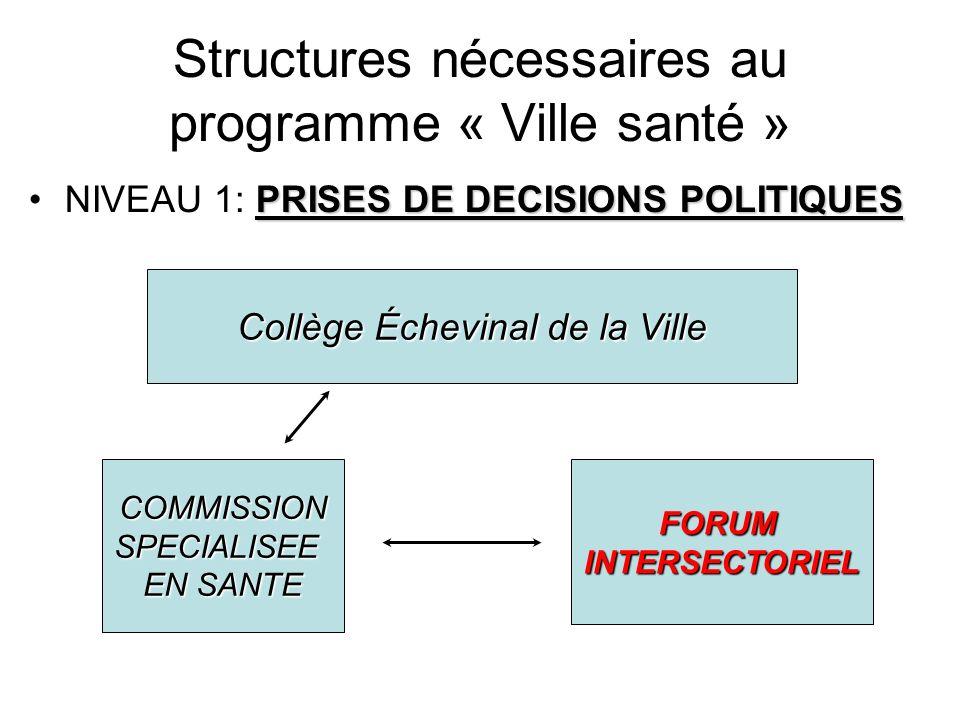 Structures nécessaires au programme « Ville santé » PRISES DE DECISIONS POLITIQUESNIVEAU 1: PRISES DE DECISIONS POLITIQUES COMMISSIONSPECIALISEE EN SA