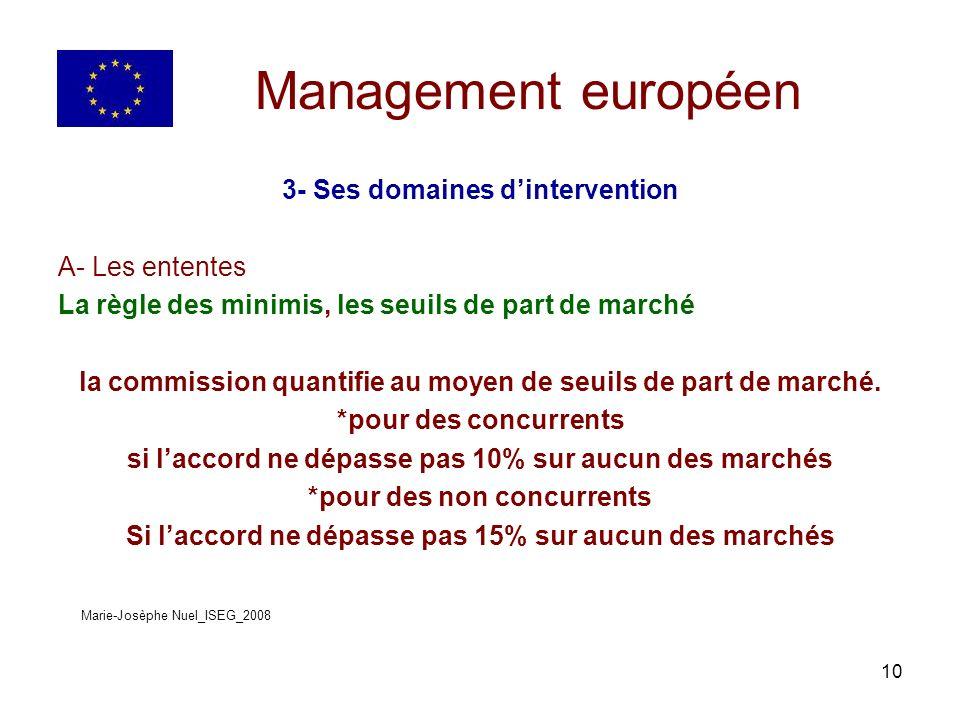 10 Management européen 3- Ses domaines dintervention A- Les ententes La règle des minimis, les seuils de part de marché la commission quantifie au moyen de seuils de part de marché.
