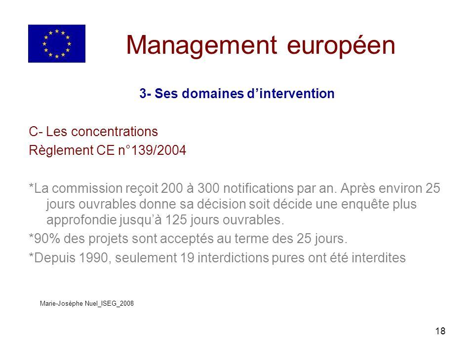 18 Management européen 3- Ses domaines dintervention C- Les concentrations Règlement CE n°139/2004 *La commission reçoit 200 à 300 notifications par an.