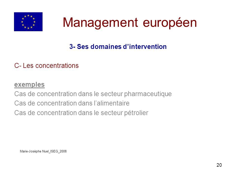 20 Management européen 3- Ses domaines dintervention C- Les concentrations exemples Cas de concentration dans le secteur pharmaceutique Cas de concentration dans lalimentaire Cas de concentration dans le secteur pétrolier Marie-Josèphe Nuel_ISEG_2008