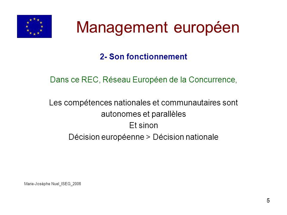 5 Management européen 2- Son fonctionnement Dans ce REC, Réseau Européen de la Concurrence, Les compétences nationales et communautaires sont autonomes et parallèles Et sinon Décision européenne > Décision nationale Marie-Josèphe Nuel_ISEG_2008