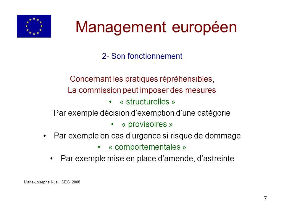 8 Management européen 3- Ses domaines dintervention A- Les ententes B- Les abus de position dominante C- les concentrations D- Les aides de létat Marie-Josèphe Nuel_ISEG_2008