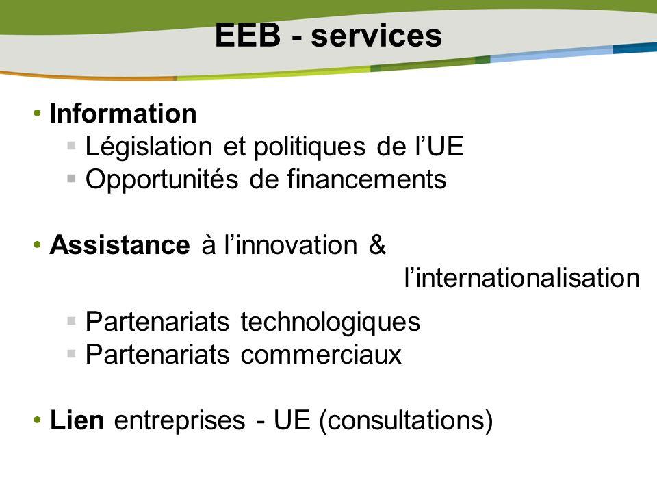 EEB - services Information Législation et politiques de lUE Opportunités de financements Assistance à linnovation & linternationalisation Partenariats