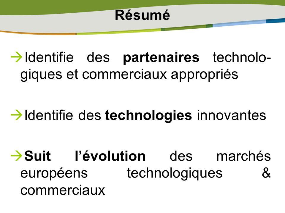 Résumé Identifie des partenaires technolo- giques et commerciaux appropriés Identifie des technologies innovantes Suit lévolution des marchés européen