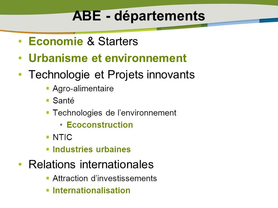 ABE - départements Economie & Starters Urbanisme et environnement Technologie et Projets innovants Agro-alimentaire Santé Technologies de lenvironneme