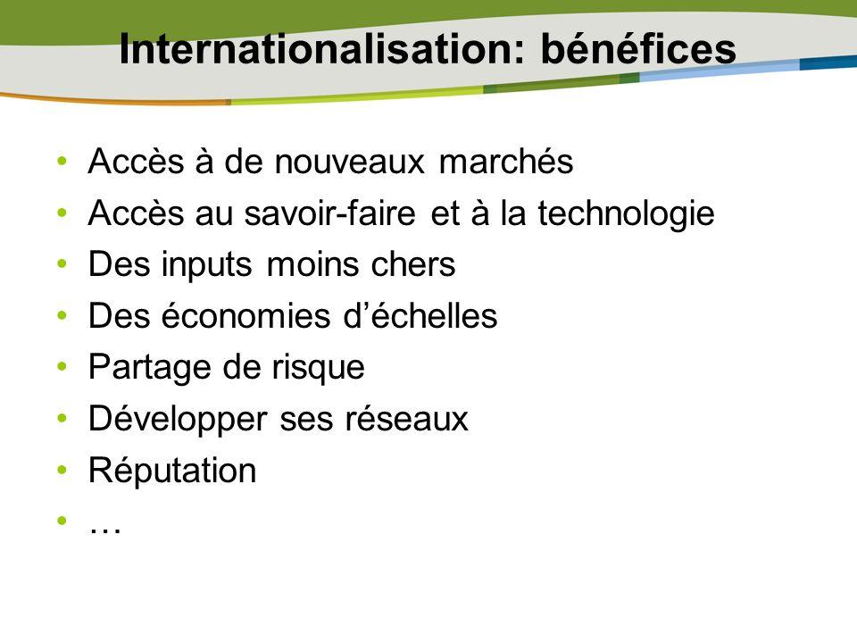 Internationalisation: bénéfices Accès à de nouveaux marchés Accès au savoir-faire et à la technologie Des inputs moins chers Des économies déchelles P