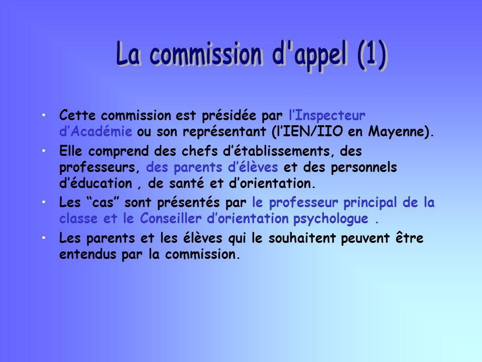 Cette commission est présidée par lInspecteur dAcadémie ou son représentant (lIEN/IIO en Mayenne).