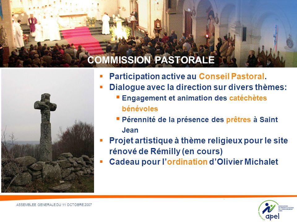 10 - NOM DU DÉPARTEMENT ÉMETTEUR ET/OU RÉDACTEUR - 21/05/2014 ASSEMBLEE GENERALE DU 11 OCTOBRE 2007 COMMISSION PASTORALE Participation active au Conse