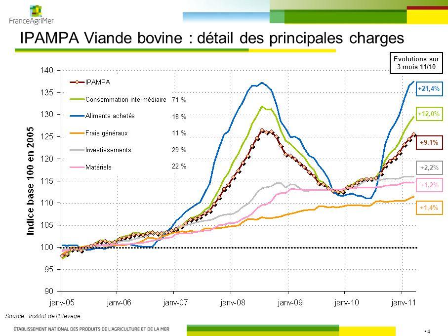 4 IPAMPA Viande bovine : détail des principales charges Source : Institut de lElevage 71 % 18 % 11 % 29 % 22 % +1,2% +1,4% +21,4% +12,0% +2,2% Evoluti