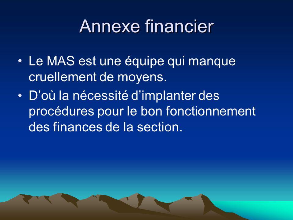 Annexe financier Le MAS est une équipe qui manque cruellement de moyens.