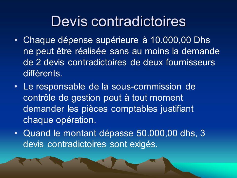 Devis contradictoires Chaque dépense supérieure à 10.000,00 Dhs ne peut être réalisée sans au moins la demande de 2 devis contradictoires de deux fournisseurs différents.