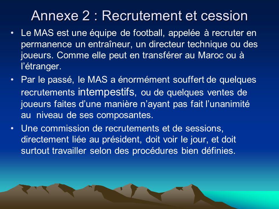 Annexe 2 : Recrutement et cession Le MAS est une équipe de football, appelée à recruter en permanence un entraîneur, un directeur technique ou des joueurs.