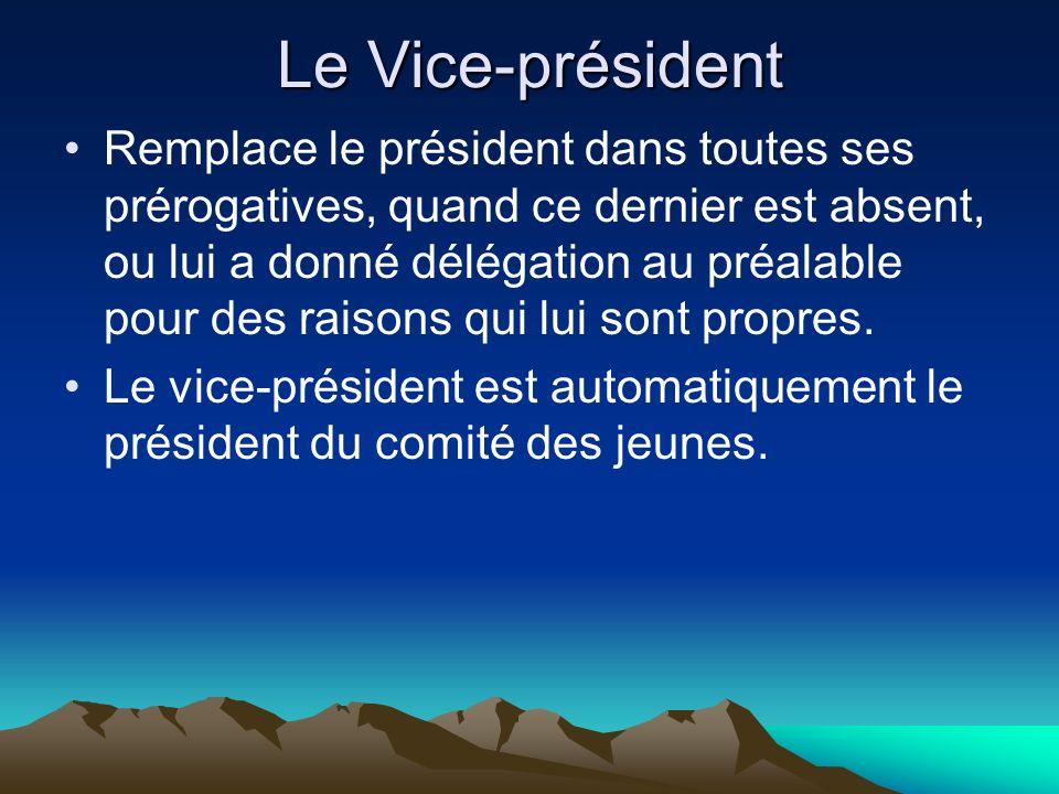 Le Vice-président Remplace le président dans toutes ses prérogatives, quand ce dernier est absent, ou lui a donné délégation au préalable pour des raisons qui lui sont propres.