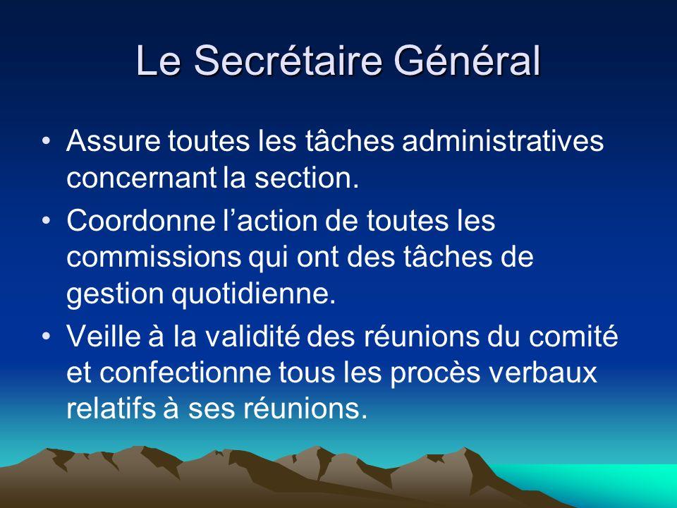 Le Secrétaire Général Assure toutes les tâches administratives concernant la section.