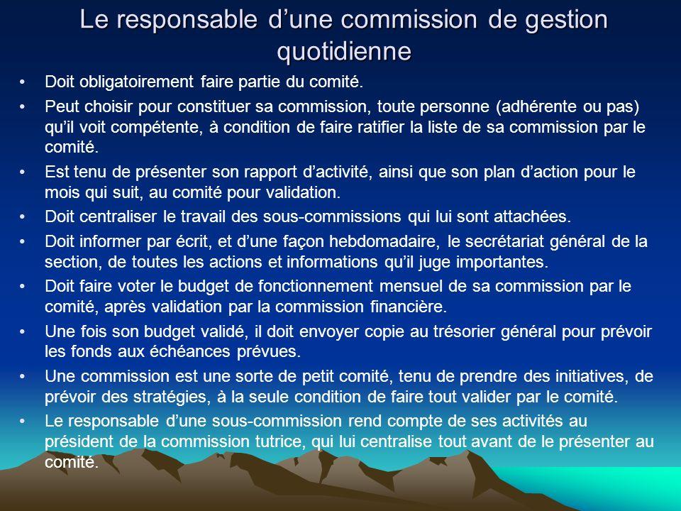 Le responsable dune commission de gestion quotidienne Doit obligatoirement faire partie du comité.