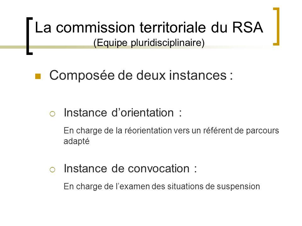 La commission territoriale du RSA (Equipe pluridisciplinaire) Composée de deux instances : Instance dorientation : En charge de la réorientation vers un référent de parcours adapté Instance de convocation : En charge de lexamen des situations de suspension